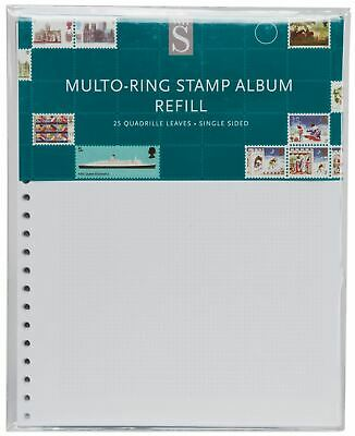 WHSmith Multo-Ring Quadrille Stamp Album Refills Single Sided Pack Of 25 Leaves