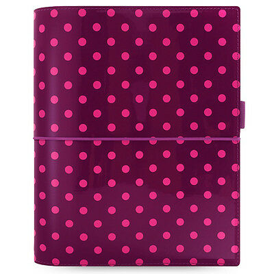 Filofax Domino Patent Aubergine With Spots A5 Organiser Contains 12 Month Diary