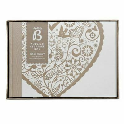 """Busy B Floral Heart Wedding Photo Album Traditional Leaves Holds 96 6x4"""" Photos"""