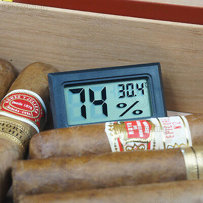 Black Digital Cigar Hygrometer Thermometer Humidity Monitor Meter For Humidor