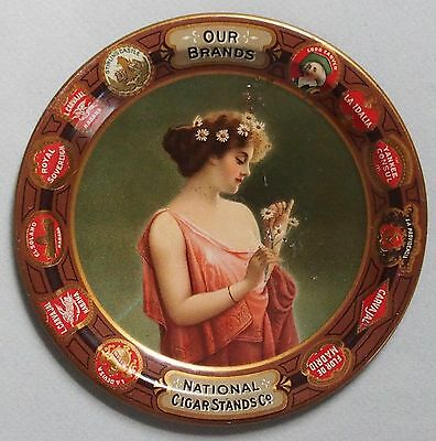 Exceptional National Cigar Stands Tin Advertising Tip Tray Pretty Girl Near Mint