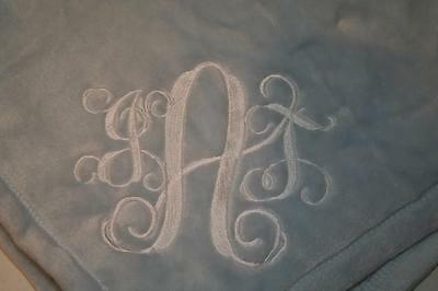 "Baby boy or girl Monogrammed Personalized Blanket 6"" Interlock Font Initials"