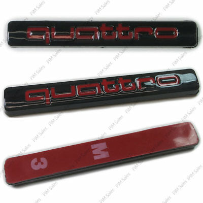 Black Red Audi Quattro Badge Logo Boot Wing Rear Glossy Emblem Sticker Adhesive