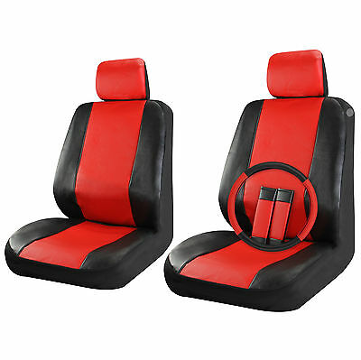 Faux Leather Car Seat Covers Set Front Seats Black / Red 9pc w/Steering Wheel