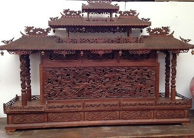 Dragon and Phoenix Hand Carved Old Asian Temple