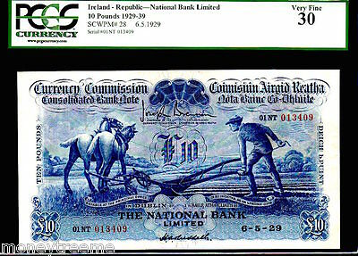 "Ireland P28 10 Pound 1939 ""ploughman"" Pgcs 30! Finest Of Only 2 Kn! Dublin Rare"