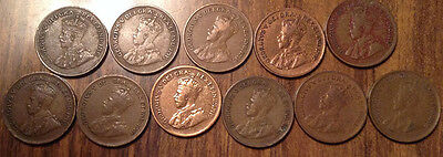 Lot Of 11 King George V Canada Small Cents Including 1924 And 1926 Loooook!!