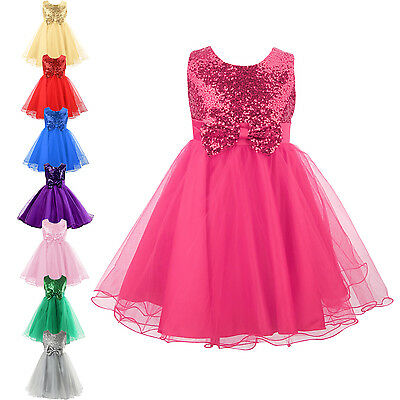 Girls Sequinned Flower Princess Wedding Dress Tulle Bow Flowergirl Formal Party