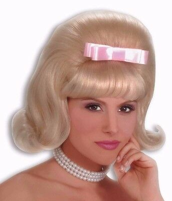 Womens Blonde Bouffant Wig 40s 50s Housewife Rockabilly 20s Flapper Hair Adult