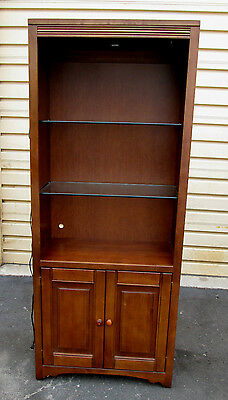 53357 Modern Maple Open Glass Shelved Bookcase Lighted Cabinet