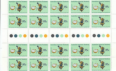 Stamps Antarctic AAT 70th anniversary south magnet pole issue gutter block of 20