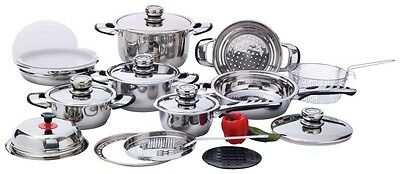 22pc 7-Ply 22-Element Heavy-Duty Stainless Steel Cookware Set Pots and Pans