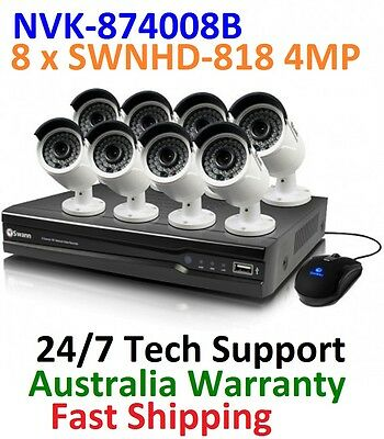 Swann NVR8-7400 8 Channel 4MP NVR & 8 x NHD-818 4MP POE IP Cameras