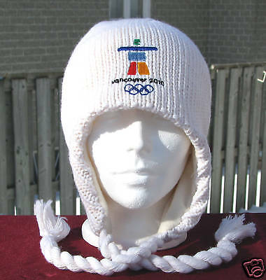 Authentic Vancouver 2010 Olympic Ivory Ear Flap Hat