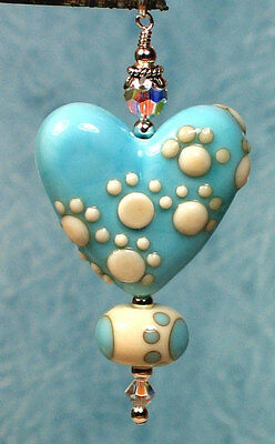 Made to order Margo lampwork beads footprint turquoise heart