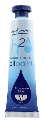 Mont Marte H2O Water Mixable - Water Soluble Oil Paint 37ml - Ultra Blue