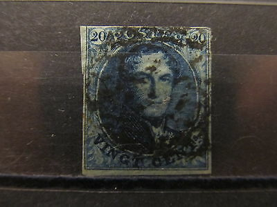 A2P23 BELGIUM 1849 WMK L'S WITH FRAMED 20c USED