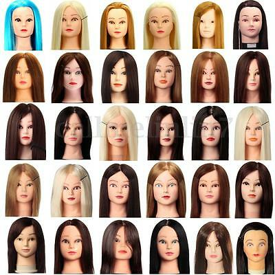 Hairdressing Practice Training Head Human Hair Mannequin Makeup Head +Clamp UK
