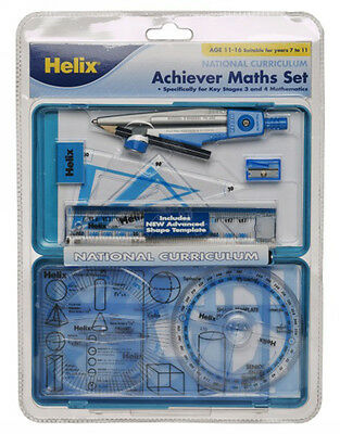 Helix Achiever Maths Set Maths Equipment For School With Handy Plastic Case