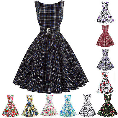 Womens RETRO Vintage 40s 50s FLORAL Dresses Casual Housewife Swing Pinup Picnic