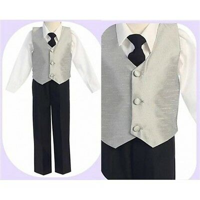 Black Pants & Silver Vest: Boys - Sizes 1 - 14 *209*