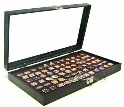 1 Glass Top Lid Burgundy Cufflinks Display Portable Storage Boxes Case