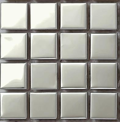 SAMPLE Silver Polished Stainless Steel Metal Kitchen Mosaic Wall Tiles MT0130