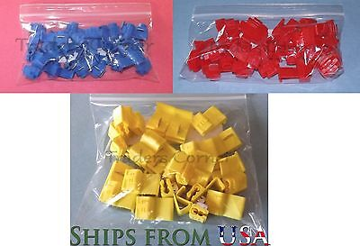 75PCs w/3 Sizes Quick Lock/Snap On Splice Crimp Wire Electrical Cable Connector