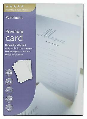 WHSmith A4 Premium Card White For Inkjet & Laser Printers Pack Of 200 Sheets