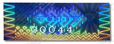 HIGH Security BLUE Hologram Stickers, NUMBERED, 50mm x 20mm Labels Kinetic VOID