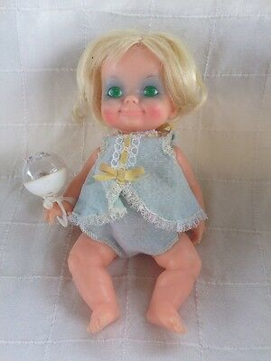 1970 Ideal Belly Button tiny thumbelina Baby Strung  Doll W/ Clothes Rattle