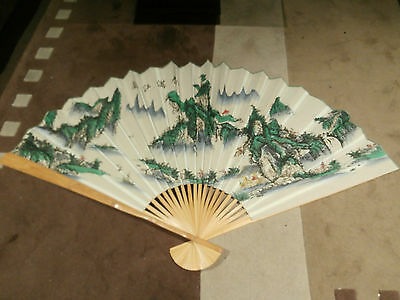 Oriental Asian Wall Art Large Bamboo Fabric Fan White & Green Perfect Condition