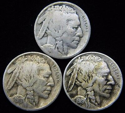 Lot of 3x 1917, 1918, 1919 Philadelphia Mint Buffalo Indian Head Nickel Coins