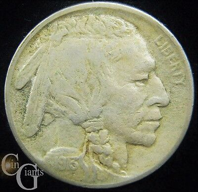1913-D T2 Buffalo Indian Head Nickel VF Album Coin Key Date Very Fine Denver