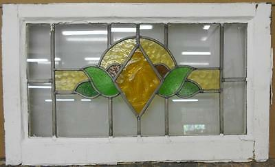 """MID SIZED OLD ENGLISH LEADED STAINED GLASS WINDOW Beautiful Floral 27.5"""" x 16.5"""""""