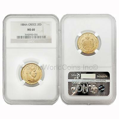 Greece 1884A 20 Drachma Gold NGC MS60