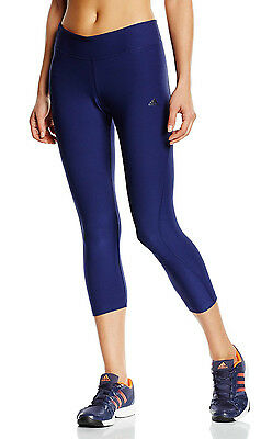 New Womens Ladies Adidas 3/4 Capri Yoga Pants Leggings Jogging Gym Bottoms Blue