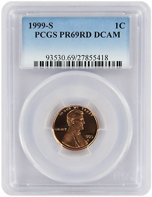 1999-S Lincoln Cent PR69RD DCAM PCGS Proof 69 Red Deep Cameo