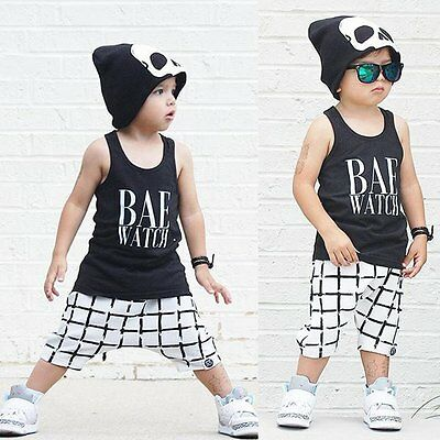 2pcs Toddler Infant Kids Baby Boys Summer T-shirt Tops+Pants Outfits Clothes Set
