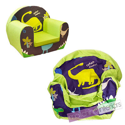 Dinosaurs Blue Childrens Kids Comfy Foam Chair Cover Only Armchair Seat Boys Cha