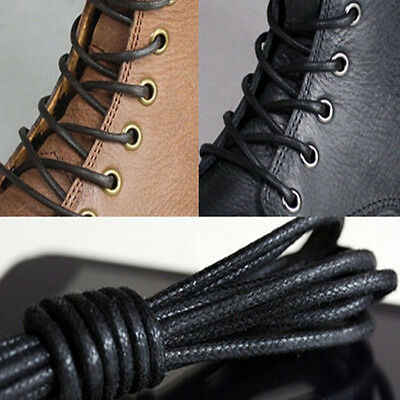 2 Pairs Waxed Round Shoe Laces Shoelace Bootlaces Leather Brogues 27.6'' EW