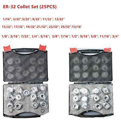 New 25Pcs ER32 Spring Collet Set For CNC Milling Lathe Tool Engraving Machine