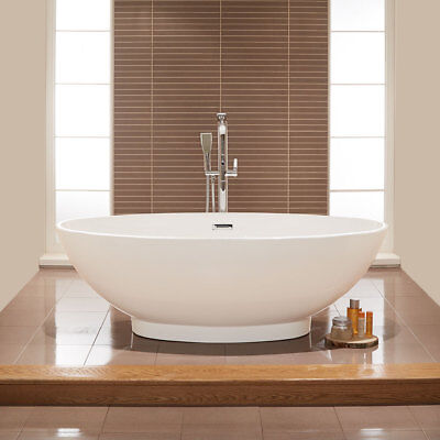 Freestanding Oval Bath Tub 1680 x 800 mm White Acrylic Luxury Modern Bathroom