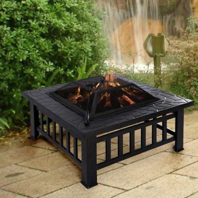Large Outdoor Garden Fire Pit Patio Heater Stove Firepit Metal Square Brazier