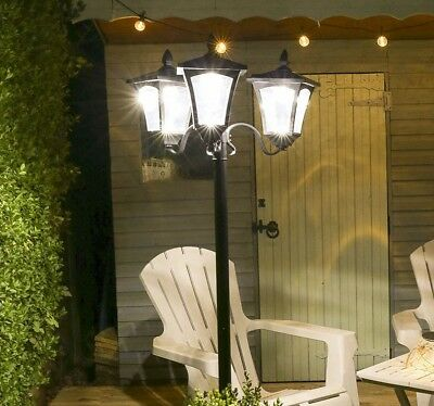2.1M Solar Powered Outdoor Garden Decking Height Adjustable Lamp Post Led Light