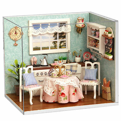 New Dollhouse Miniature DIY Kit with Cover Wood Toy doll house kitchen