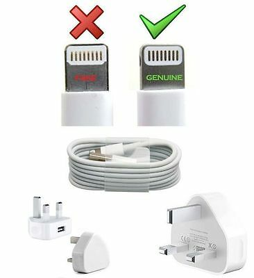 Genuine APPLE UK Charger USB Wall Plug & 1M Data Sync Cable For iPhone 6 6S 5 5C
