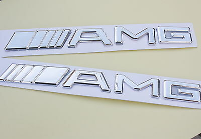 2x Badge AMG Mercedes-Benz Emblems Decals Trunk Fender Sticker Logo Sport Chrome