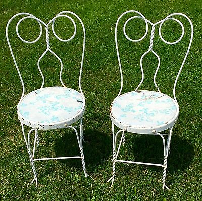 Vtg Pair Twisted Metal Wrought Iron Ice Cream Parlor Soda Fountain Chair Seat