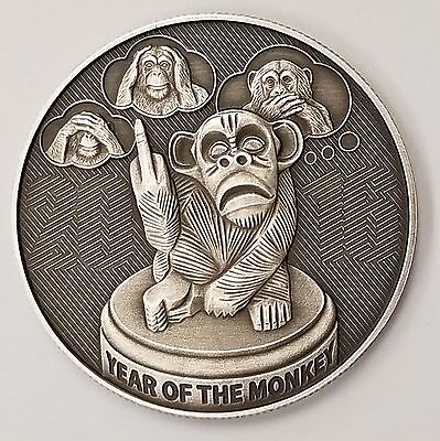 """New ANTIQUE 2016 """"Flip"""" The Year Of The Monkey Very Limited 1 oz. Silver Coin"""